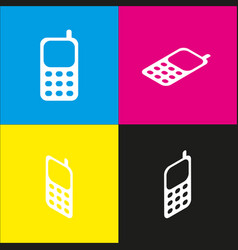 cell phone sign white icon with isometric vector image vector image