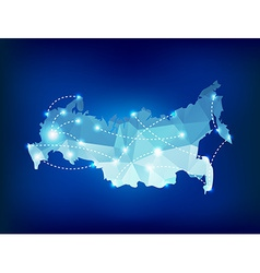 Russia country map polygonal with spot lights plac vector image