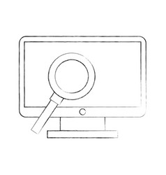 computer desktop with magnifying glass vector image vector image