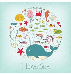 Cute marine life vector image vector image