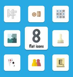 flat icon entertainment set of ace xo jigsaw vector image vector image