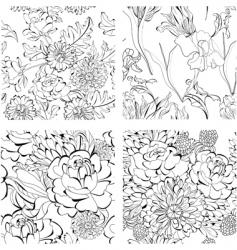 set of monochrome seamless wallpaper vector image