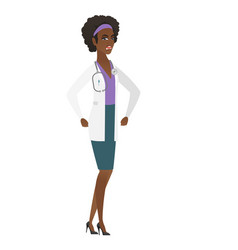 Young african-american angry doctor screaming vector