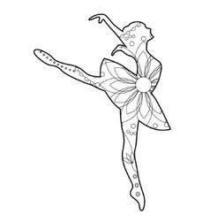 Ballet dancer coloring vector image vector image