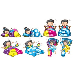 Bedtime for boy and girl vector image