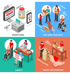 Charity Isometric 2x2 Design Concept vector image