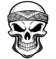 skull wearing bandana vector image vector image