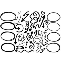 001 hand drawn doodle arrows circle vector