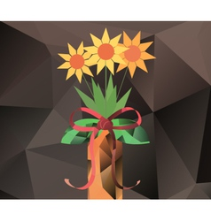Abstract bouquet in vase - polygon graphics vector image