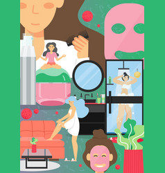 At-home skincare routine poster banner vector