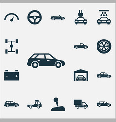 automobile icons set collection of plug carriage vector image