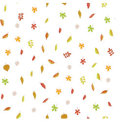 autumn leaves seamless pattern cartoon vector image