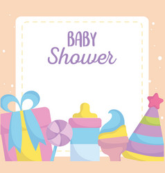 Bashower gift box rattle hat party announce vector