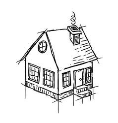 Black and white sketch of small house vector