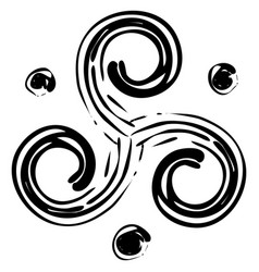 Black isolated celtic pagan symbol triskele vector