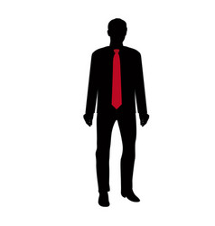 Black silhouette of businessman with red tie in vector