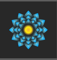 Blue big dahlia flower logo floral decoration vector