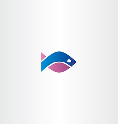 blue purple fish icon symbol vector image