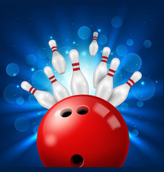 bowling ball strike in pins 3d realistic vector image