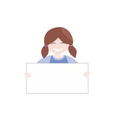 brown hair girl holding white empty banner vector image