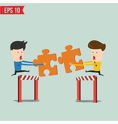 Businessman assembling jigsaw puzzle and represent vector image