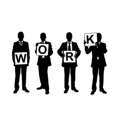 businessmen holding work sign vector image