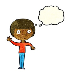 Cartoon waving boy with thought bubble vector