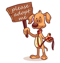 Character dog with a banner - Adopt me vector image