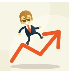 Cheerful businessman climbing a bar chart vector image