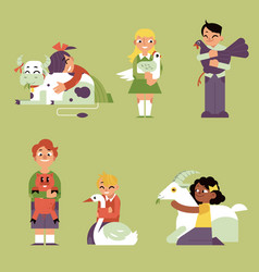 Children hugging domestic farm animals set vector
