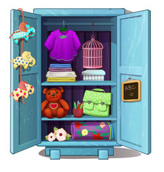 Children wardrobe with clothes toys and stuff vector