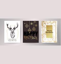 christmas card happy new year invitation design vector image