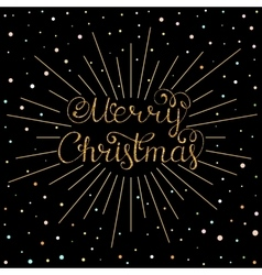 christmas inscription with gold rays vector image