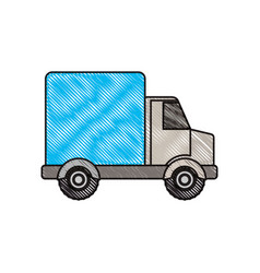 Colored crayon silhouette of truck with wagon vector
