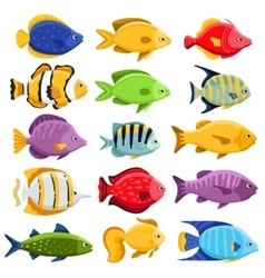 Colorful reef tropical fish set vector