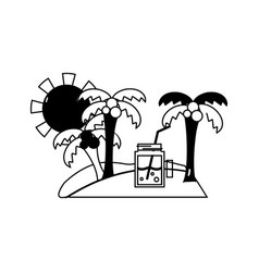 Contour palms with beverage in the island on vector