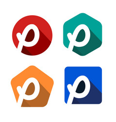creative handwritten white letter p inscribed in a vector image