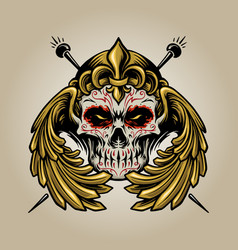 Crown mexican sugar skull muertos with wings logo vector