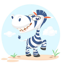 Cute cartoon zebra character vector