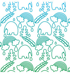 Degraded line elephant with plant leaves and vector