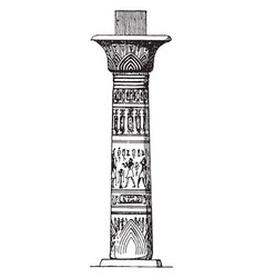 Egyptian column painted vintage engraving vector