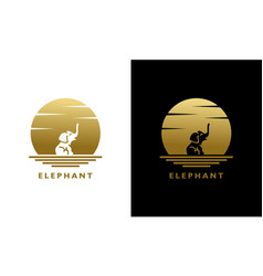 Elephant animal silhouette at sunset or moon logo vector