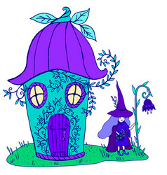 fairytale house bellflower witch in a hat vector image