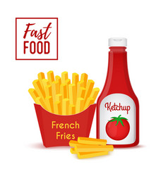 fast food collection - fries and ketchup vector image