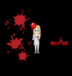 ghost girl holding red balloon vector image