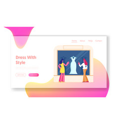 girls choose garment standing at apparel boutique vector image