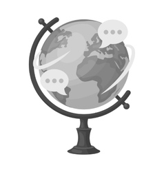 Globe of various languages icon in monochrome vector image