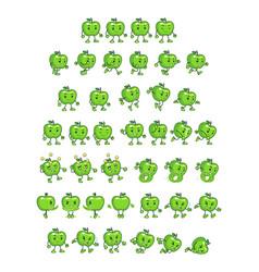 Green apple game sprites vector
