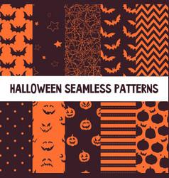halloween seamless patterns endless vector image