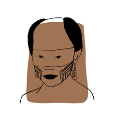 Hand-draw outline portrait a tribal man vector